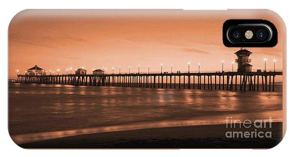 Huntington Beach Pier - Twilight Sepia IPhone Case