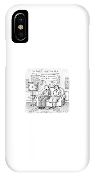 Husband And Wife Discuss Summer Plans On A Couch IPhone Case