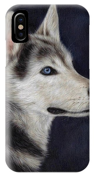 Sled Dog iPhone Case - Husky Portrait Painting by Rachel Stribbling