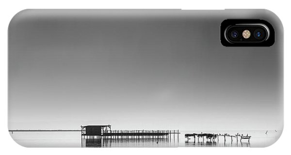 Pier iPhone Case - Hut In The Mist by George Digalakis