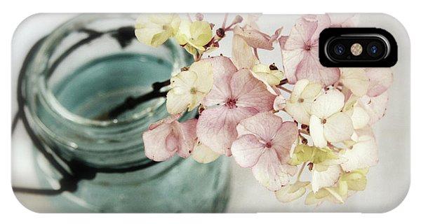 Hydrangea In Vintage Robin's Egg Jar IPhone Case