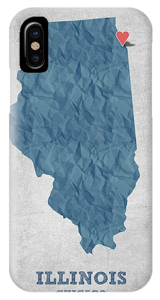 Chicago Art iPhone Case - I Love Chicago Illinois - Blue by Aged Pixel
