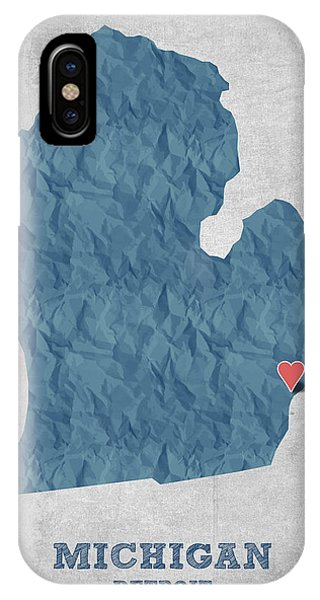 Michigan State iPhone Case - I Love Detroit Michigan - Blue by Aged Pixel