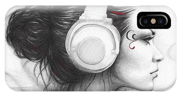 Graphite iPhone Case - I Love Music by Olga Shvartsur