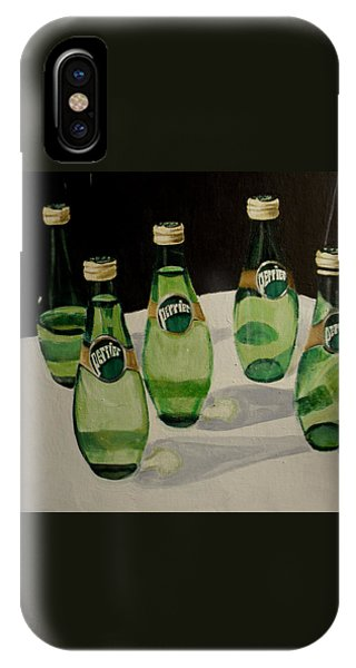 Perrier Bottled Water, Green Bottles, Conceptual Still Life Art Painting Print By Ai P. Nilson IPhone Case