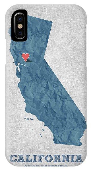 Sacramento iPhone X Case - I Love Sacramento California - Blue by Aged Pixel