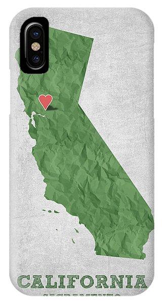 Sacramento iPhone X Case - I Love Sacramento California - Green by Aged Pixel