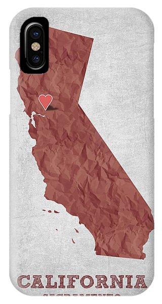 Sacramento iPhone X Case - I Love Sacramento California - Red by Aged Pixel