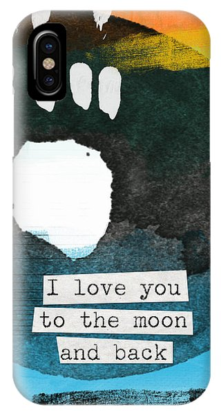Moon iPhone Case - I Love You To The Moon And Back- Abstract Art by Linda Woods