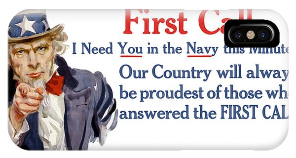 Wwi iPhone Case - I Need You In The Navy - Uncle Sam Wwi by War Is Hell Store