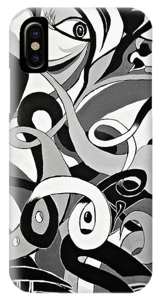 Black And White Acrylic Painting Original Abstract Artwork Eye Art  IPhone Case