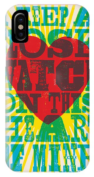 Hearts iPhone Case - I Walk The Line - Johnny Cash Lyric Poster by Jim Zahniser