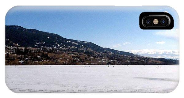 Oyama iPhone Case - Ice Fishing On Wood Lake by Will Borden