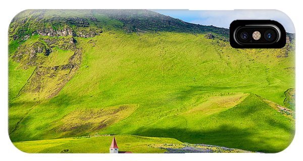 Iceland Mountain Landscape With Church In Vik IPhone Case
