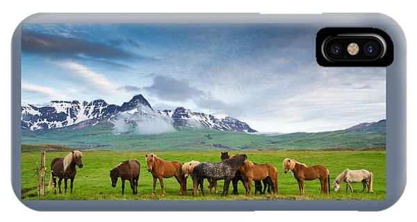 Icelandic Horses In Mountain Landscape In Iceland IPhone Case