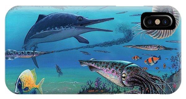Squid iPhone Case - Ichthyosaur And Prey by Richard Bizley