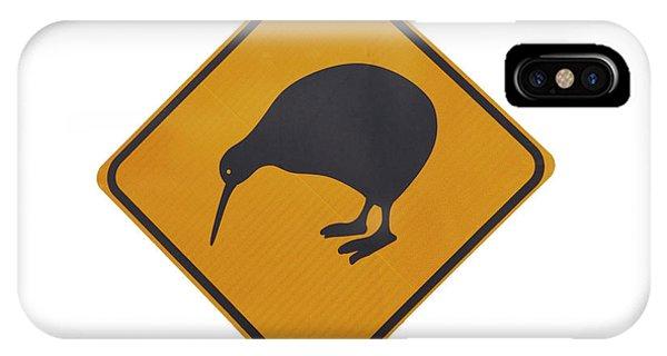 Cutout iPhone Case - Iconic Yellow Kiwi Warning Sign, New by David Wall