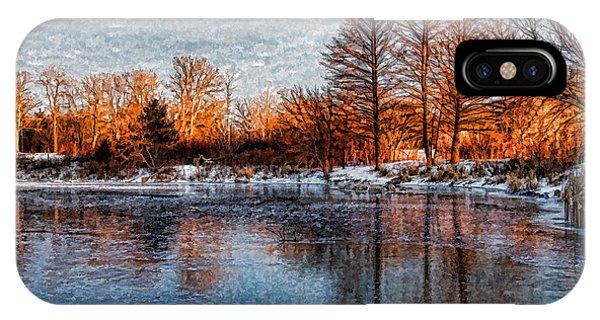Treeline iPhone Case - Icy Reflections At Sunrise - Lake Ontario Impressions by Georgia Mizuleva