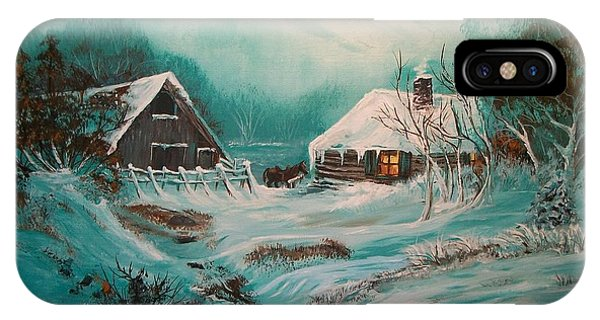 Barn Snow iPhone Case - Icy Twilight by Sharon Duguay