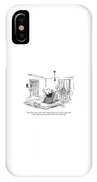 Reading iPhone Case - I'd Just Like To Know What In Hell Is Happening by George Booth