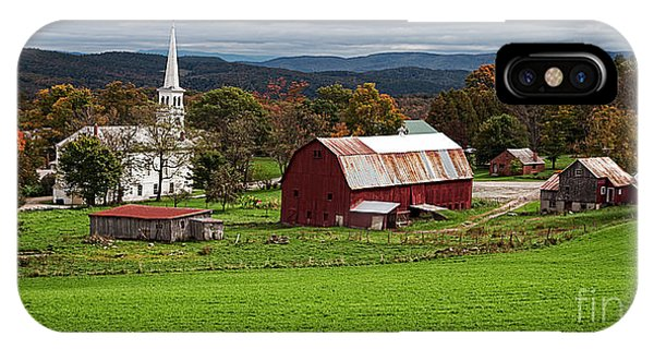 New England Fall Foliage iPhone Case - Idyllic Vermont Small Town by Edward Fielding
