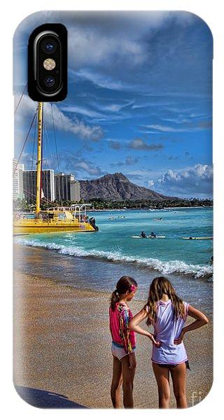 Catamaran iPhone Case - Idyllic Waikiki Beach No 2 by David Smith