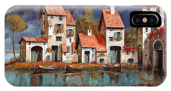 Village iPhone Case - Il Villaggio Sul Lago by Guido Borelli