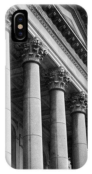 Capitol Building iPhone Case - Illinois Capitol Columns B W by Steve Gadomski