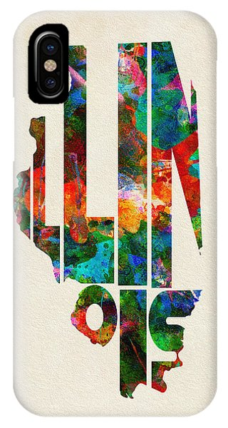 Rockford iPhone Case - Illinois Typographic Watercolor Map by Inspirowl Design