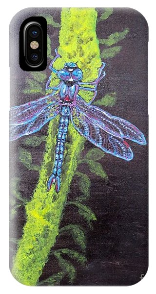 Illumination Of A Blue Dragonfly's Form At Nightfall Painting IPhone Case