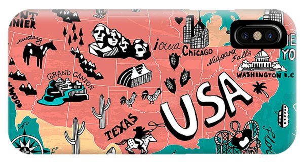 Illustrated Map Of Usa Phone Case by Daria i