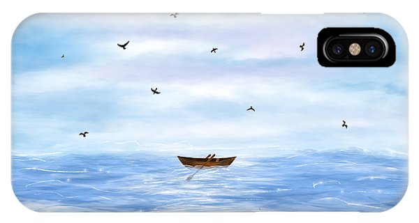 Illustration Of A Lonely Boat IPhone Case