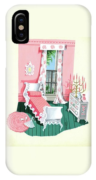 Illustration Of A Victorian Style Pink And Green IPhone Case