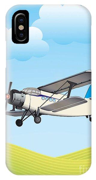 Flight iPhone Case - Illustration Of Biplane Flying by Aleksandar Dickov