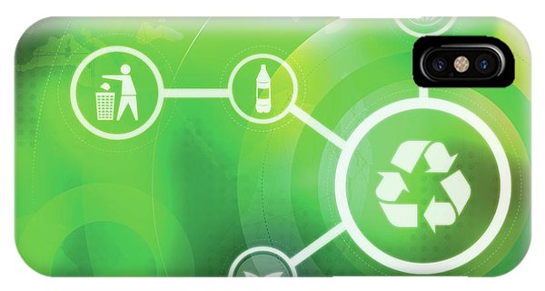 Rubbish Bin iPhone Case - Illustration Of Icons Representing Recycling by Fanatic Studio / Science Photo Library