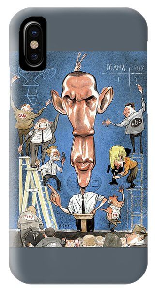 Illustration Of Obama Giving A Speech IPhone Case