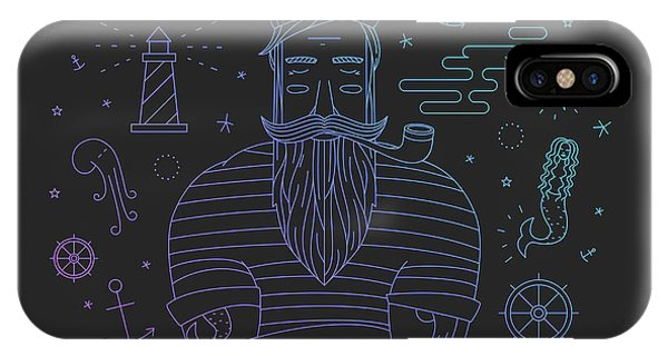 Sign iPhone Case - Illustration Of Sailor With Pipe Dreams by Fay Francevna