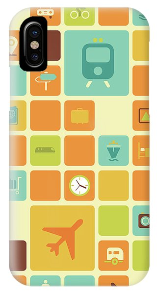 Trolley Car iPhone Case - Illustration Of Travel Icons Over Coloured Background by Fanatic Studio / Science Photo Library