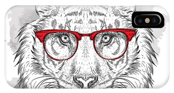 Head iPhone Case - Image Portrait Tiger In The Cravat And by Sunny Whale