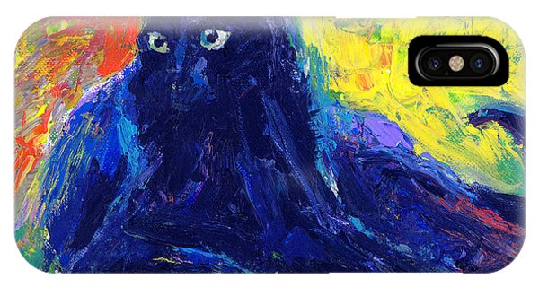 Russian Impressionism iPhone Case - Impasto Black Cat Painting by Svetlana Novikova