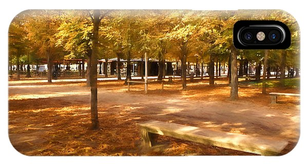 Park Bench iPhone Case - Impressions Of Paris - Tuileries Garden - Come Sit A Spell by Georgia Mizuleva