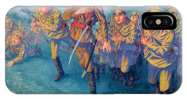 Wwi iPhone Case - In The Firing Line by Kuzma Sergeevich Petrov-Vodkin