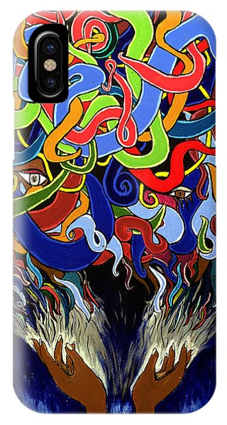 Colorful Abstract Art Painting, Creative Energy Flow Art, Afrofuturism IPhone Case