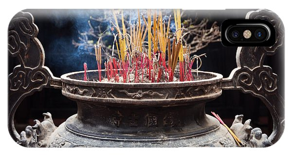 Incense Sticks Burn In Large Ceremonial Temple Urn IPhone Case