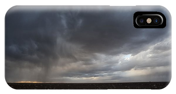 Incoming Storm Over A Cotton Field IPhone Case