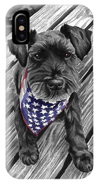 Watercolor Schnauzer Black Dog IPhone Case