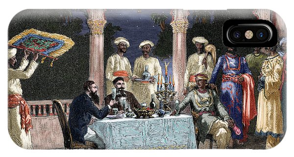 British Empire iPhone Case - India  British Colonial Era  Banquet At The Palace Of Rais In Mynere by Hildibrand