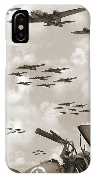 Bomber iPhone Case - Indian 841 And The B-17 Panoramic Sepia by Mike McGlothlen