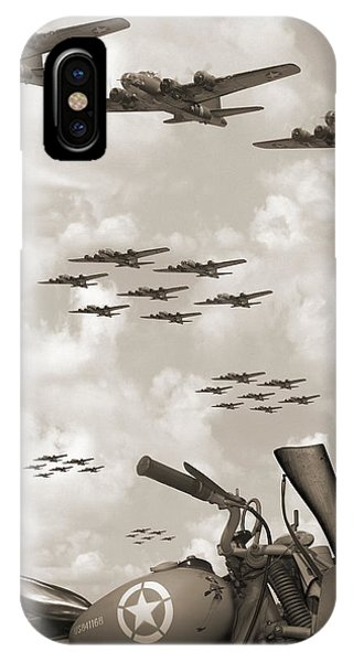 Indian 841 And The B-17 Panoramic Sepia IPhone Case