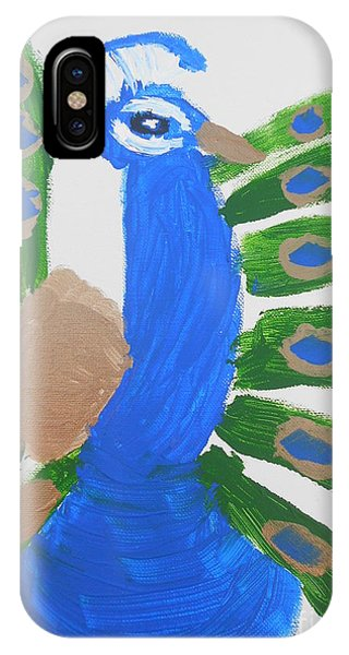 IPhone Case featuring the painting Indian Blue Peacock by Epic Luis Art